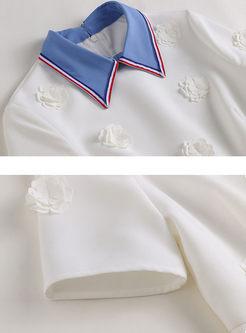 Color-blocked Lapel High Waist Dress
