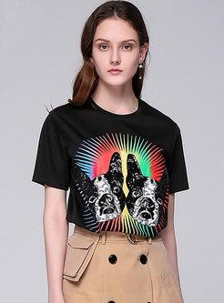 Fashion Black Print Sequined T-shirt