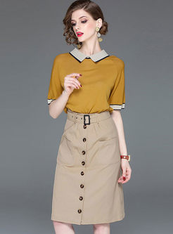 Casual Turn Down Collar T-shirt & Midi Skirt