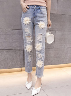 Denim Stereoscopic Flower Beaded Pencil Pants