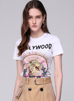 Fashion Street Print Sheath White T-shirt