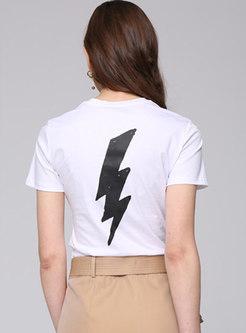 Fashion Street Print Sheath White T-shirt