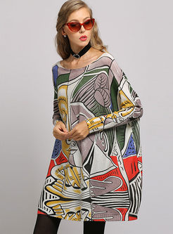 Casual Plus Size Pullover Print Knitted Dress