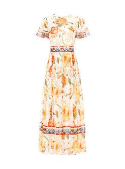 Bohemia Print Gathered Waist Hem Dress