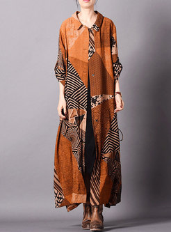 Vintage Print Lapel Side-slit Single-breasted Coat