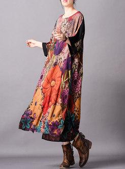 Retro Print Splicing Loose Maxi Dress