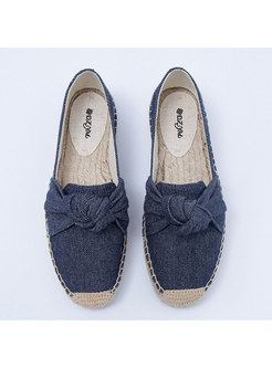 Casual Canvas Bowknot Flat Daily Loafers