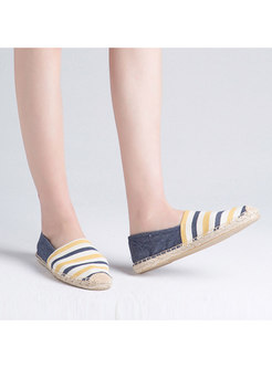 Women Spring/fall Casual Canvas Striped Loafers