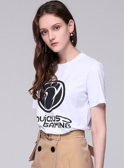 Chic O-neck Cartoon Print Casual T-shirt