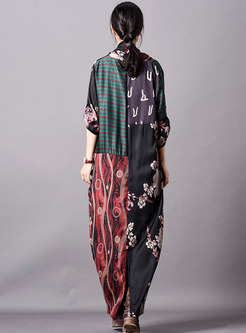 Retro Print Cross V-neck Loose Maxi Dress