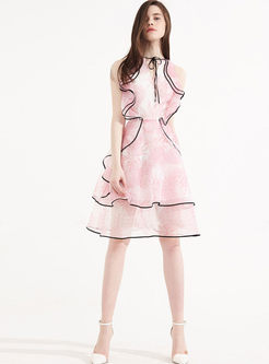 Sweet O-neck Sleeveless Falbala Dress