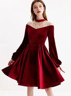 Elegant Mesh Polka Dot Splicing Skater Dress