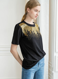 Casual O-neck Sequins Loose T-shirt