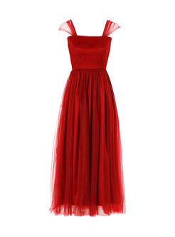 Elegant Square Neck Sleeveless Party Dress
