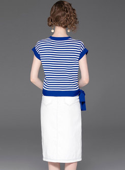 Casual Striped O-neck T-shirt & Slit Sheath Skirt