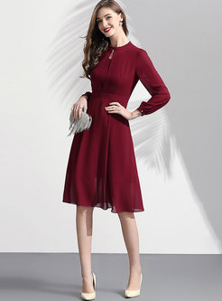 Elegant Stand Collar High Waist Slim Skater Dress