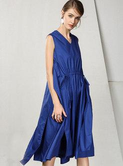 Solid Color Split V-neck Tied Loose Skater Dress