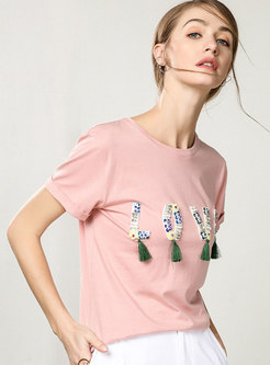 Print Patch Tassel O-neck T-shirt