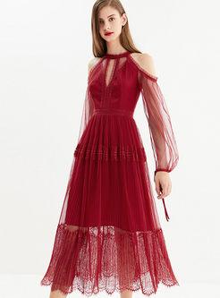 Stylish Off Shoulder High Waist Cocktail Dress