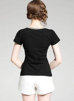Brief V-neck Short Sleeve Cotton T-shirt