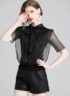 Solid Color Standing Collar Bowknot Top