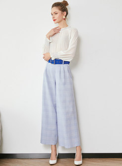 Ruffled Collar Flare Sleeve Blouse & Plaid Wide Leg Pants