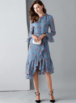Sweet Floral Tie-collar Flare Sleeve Asymmetric Dress