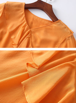 V-neck Falbala Top & Print High Waist Sheath Skirt