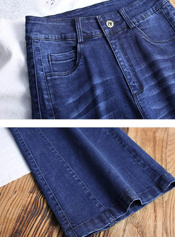 High Waist Wide Leg Denim Pants