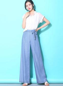 Solid Color Bowknot Wide Leg Pants