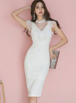 Half High Neck Lace Splicing Slim Dress