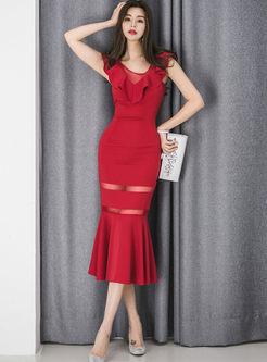 Elegant Slash Neck Falbala Mermaid Dress