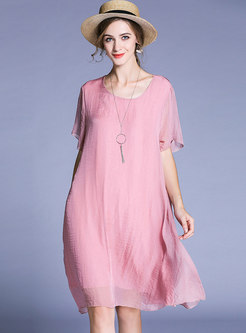 Casual Chiffon Solid Color Loose Dress