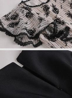 Print Splicing High Waist Mermaid Dress