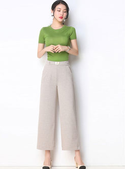 Casual Solid Color Wide Leg Pants