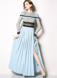 Lace Splicing Gathered Waist Pleated Maxi Dress