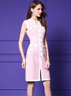 Stylish Color-blocked Split Sleeveless Pencil Dress