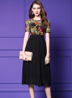Vintage Splicing Color-blocked Gathered Waist Pleated Dress