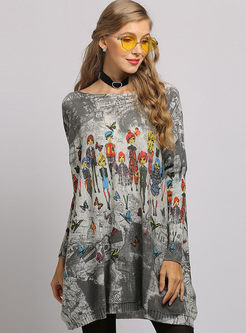 Brief Bat Sleeve Print Knitted Dress