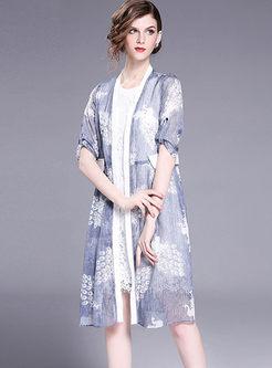Stylish Lace Sleeveless Dress & Chiffon Coat