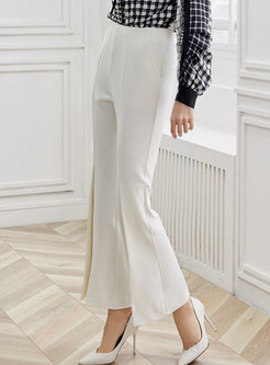 Stylish High Waist Slit Flare Pants