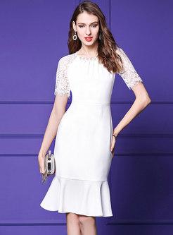 Elegant Solid Color Pearl Lace Splicing Mermaid Dress