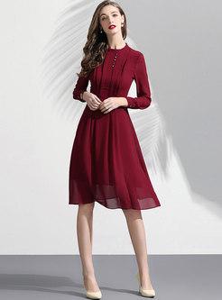 Pure Color Stand Collar High Waist Skater Dress