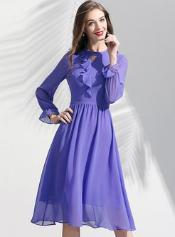 Light Purple Flare Sleeve Slim A Line Dress