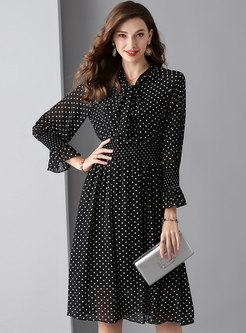 Polka Dot Tie-collar Elastic Waist Skater Dress