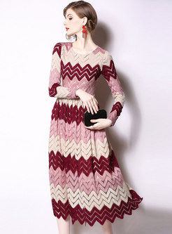 Elegant Color-blocked Lace High Waist Slim Maxi Dress