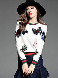 Crew Neck Butterfly Sequin Pullover Sweater