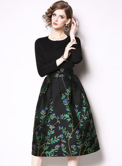 Chic Jacquard Splicing Gathered Waist Skater Dress