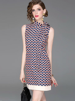 Letter Print Scarf Collar Sleeveless Bodycon Dress