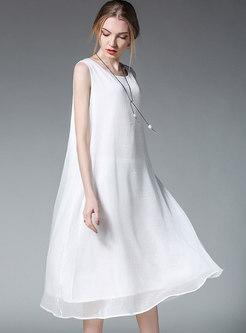 Solid Color O-neck Sleeveless Chiffon Shift Dress